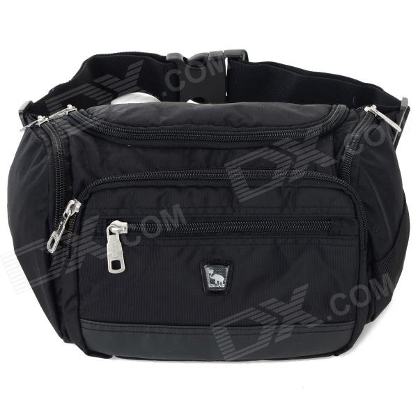 OIWAS Outdoor Sport Zipper Opening Nylon Waist Bag - Black
