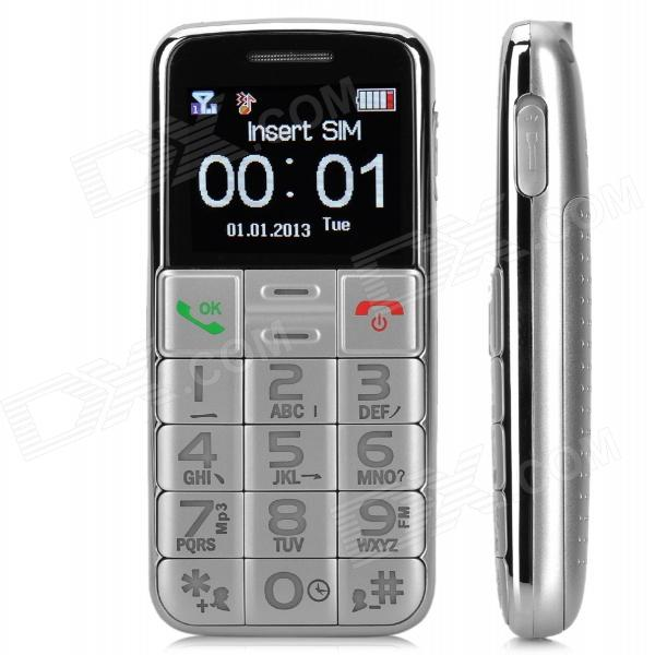 S788 GSM Bar Phone w/ 1.8 Screen, Quad-Band, FM, SOS, Flashlight for Elderly - Silver gs89 1 8 lcd screen quad band gsm bar phone w mp3 fm sos led light uv lamp black silver