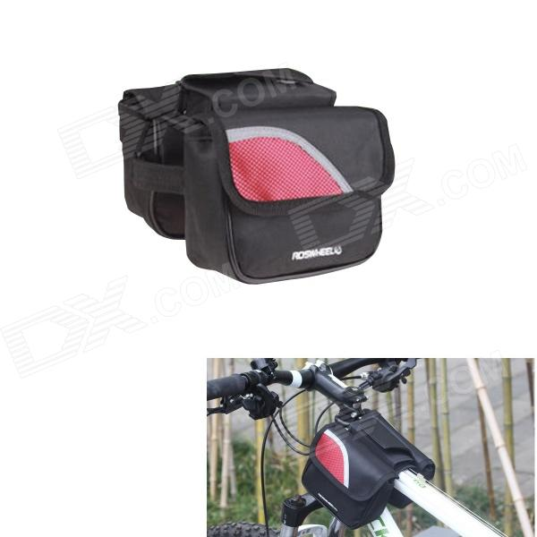 ROSWHEEL 12695 Durable 600D Polyester Top Tube Bag for Bicycle - Black + Red