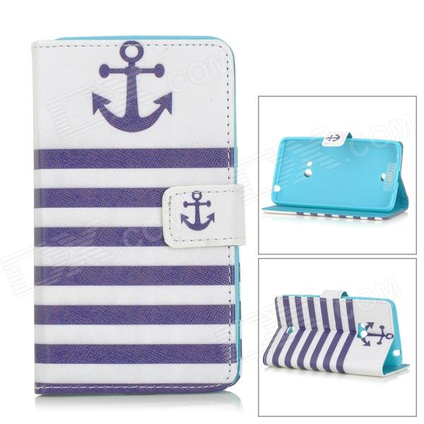 Anchor Patterned Flip-Open PU Leather Case w/ Stand for Nokia N625 / 625H / Lumia625 - White + Blue anchor