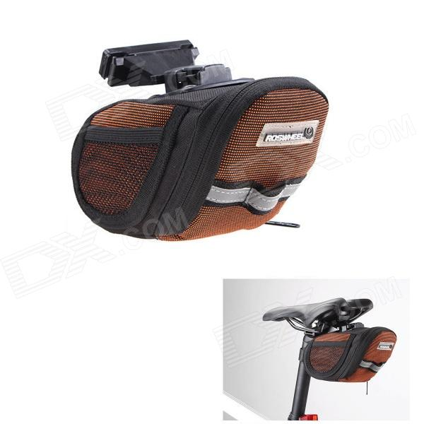 ROSWHEEL 600D Polyester + PU Cycling Bike Bicycle Saddle Seat Tail Bag - Black + Orange
