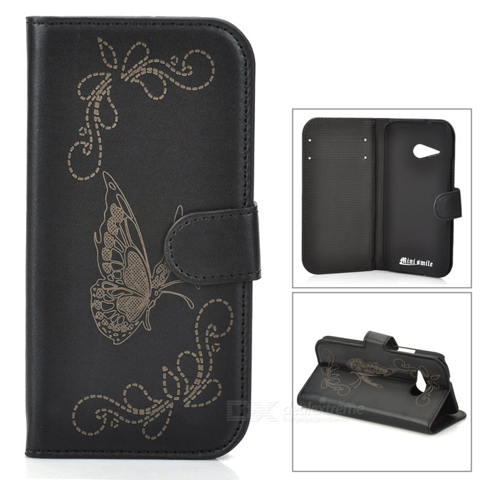 Butterfly Patterned Flip-Open PU Leather Case w/ Stand for HTC One Mini 2 / M8 Mini - Black s style protective tpu back case for htc one 2 mini m8 black