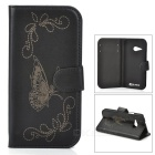 Butterfly Patterned Flip-Open PU Leather Case w/ Stand for HTC One Mini 2 / M8 Mini - Black