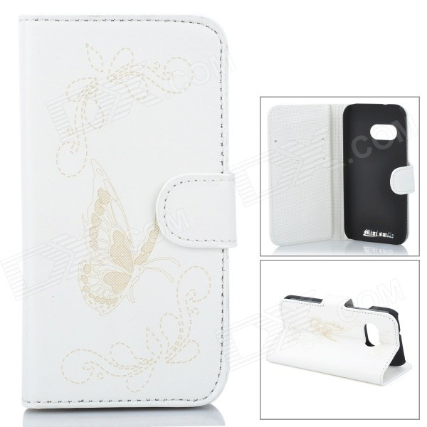 Butterfly Patterned Flip-Open PU Leather Case w/ Stand for HTC One Mini 2 / M8 Mini - White htc butterfly x920d с поддержкой карты памяти в твери