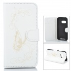 Butterfly Patterned Flip-Open PU Leather Case w/ Stand for HTC One Mini 2 / M8 Mini - White