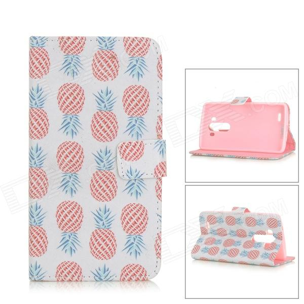 Pineapple Patterned Flip-Open PU Leather Case w/ Stand for LG G3 / D855 - White + Red novline nlc 51 44 b11