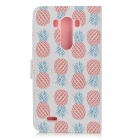 Pineapple Patterned Flip-Open PU Leather Case w/ Stand for LG G3 / D855 - White + Red