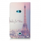Tower Patterned Flip-Open PU Leather Case w/ Stand for Nokia N625 / 625H / Lumia625 - Purple + White
