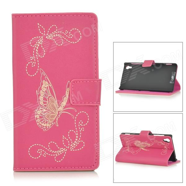Butterfly Patterned Flip-Open PU Leather Case w/ Stand for Sony Xperia Z2 / D6503 - Deep Pink колонка philips bt2600b 00 black