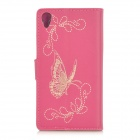 Butterfly Patterned Flip-Open PU Leather Case w/ Stand for Sony Xperia Z2 / D6503 - Deep Pink