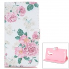 Flower Pattern Flip Open PU Case w/ Stand / Card Slots for LG G3 / D855 - White + Pink + Multi-Color