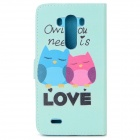 Owl Pattern Flip Open PU Case w/ Stand / Card Slots for LG G3 / D855 - Light Green + Multi-Color