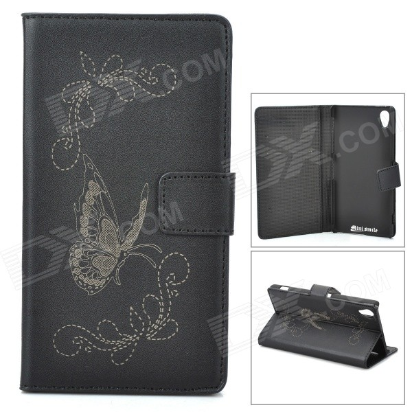 Butterfly Pattern Flip Open PU Case w/ Stand / Card Slots for Sony Xperia Z2 / D6503 - Black чехол книжка lazarr protective case для sony xperia z2 d6503 из экокожи black