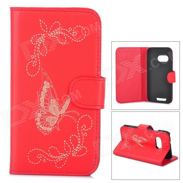 Butterfly Pattern Flip Open PU Case w/ Stand / Card Slots for HTC One Mini 2 / M8 Mini - Red cute cartoon pattern pu tpu flip open case w stand card slots for htc one2 m8 black grey
