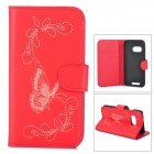 Butterfly Pattern Flip Open PU Case w/ Stand / Card Slots for HTC One Mini 2 / M8 Mini - Red