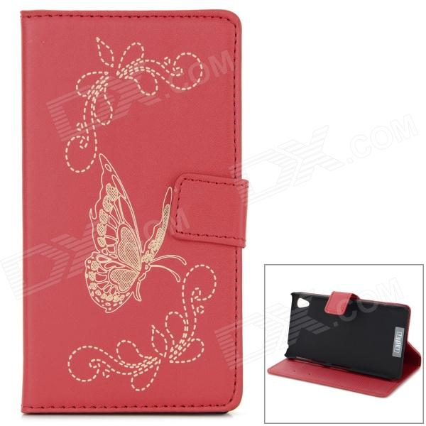 Butterfly Pattern Flip Open PU Case w/ Stand / Card Slots for Sony Xperia Z2 / D6503 - Red dhl free shipping wireless lcd dmx transmitter and receiver signal to wireless lights