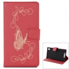 Butterfly Pattern Flip Open PU Case w/ Stand / Card Slots for Sony Xperia Z2 / D6503 - Red
