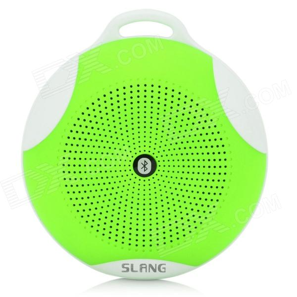 SLANG Round 3W Bluetooth V3.0 Multifunctional Speaker w/ Microphone, TF - Green s08 portable 3w bluetooth v3 0 speaker w micro sd tf fm microphone black