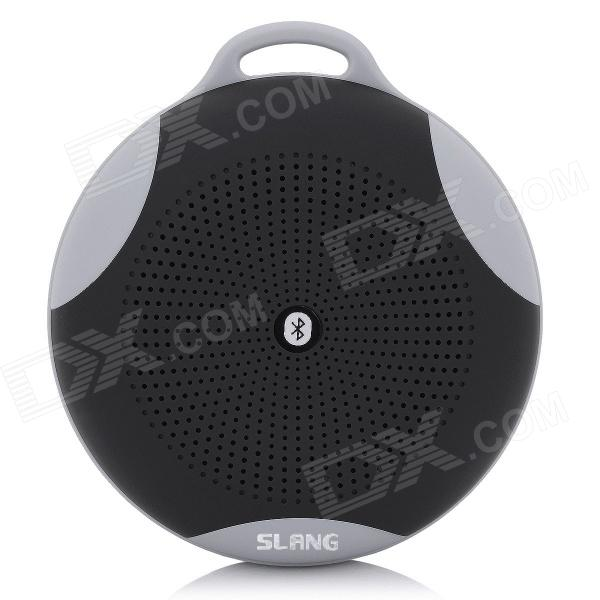 SLANG Round 3W Bluetooth V3.0 Multifunctional Speaker w/ Microphone, TF - Black s08 portable 3w bluetooth v3 0 speaker w micro sd tf fm microphone black