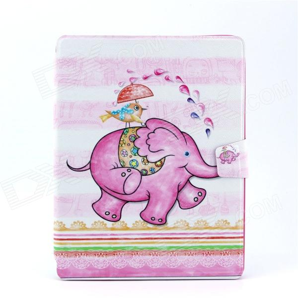 Baby Elephant Pattern Stylish PU Leather Flip Open Case w/ Stand for IPAD 2 / THE NEW IPAD / IPAD 4 luxury brand cover flip pu leather case for ipad 4 ipad 2 smart cover for new ipad 3 ipad 4 slim thin tablet stand case 9 7