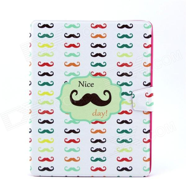 Funny Moustaches Pattern PU Leather Flip Open Case w/ Stand for IPAD 2 / THE NEW IPAD / IPAD 4 luxury brand cover flip pu leather case for ipad 4 ipad 2 smart cover for new ipad 3 ipad 4 slim thin tablet stand case 9 7