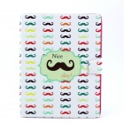 Funny Moustaches Pattern PU Leather Flip Open Case w/ Stand for IPAD 2 / THE NEW IPAD / IPAD 4
