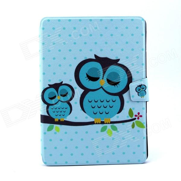 Sleeping Owl Pattern PU Leather Flip Open Case w/ Stand for IPAD AIR - Blue + Multi-Color piececool 3d metal puzzle toy educational diy puzzles blue magnetic rotation model building kits assembled kids toys adults gift