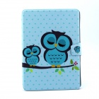 Sleeping Owl Pattern PU Leather Flip Open Case w/ Stand for IPAD AIR - Blue + Multi-Color