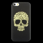 Embossed Skull Head Pattern Protective PC Back Case for IPHONE 5 / 5S - Black + Yellow