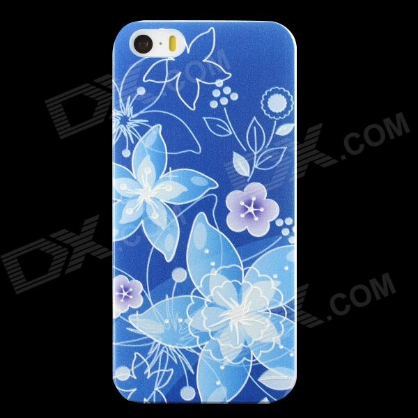 Embossed Flower Pattern Protective PC Back Case for IPHONE 5 / 5S - Deep Blue + Blue + Multi-Color link dream protective tpu pc back case for iphone 5 5s pink dark blue