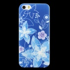 Embossed Flower Pattern Protective PC Back Case for IPHONE 5 / 5S - Deep Blue + Blue + Multi-Color
