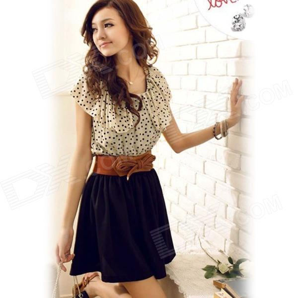 Casual Chiffon Polka Dot Pattern Dress w/ Belt - Black + White (M)