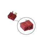 Anti-slip T-Plug Female Connector for R/C Helicopter Battery - Red + Gold