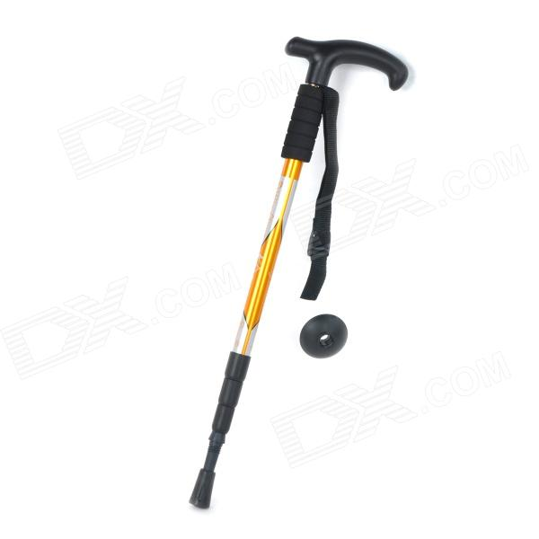 Wind Tour 4-Section Retractable Trekking Hiking Mountaineering Walking Stick Pole - Black + Yellow