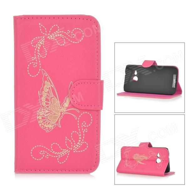 все цены на Butterfly Patterned Flip-Open PU Leather Case w/ Stand for HTC One Mini 2 / M8 Mini - Deep Pink онлайн
