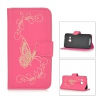 Butterfly Patterned Flip-Open PU Leather Case w/ Stand for HTC One Mini 2 / M8 Mini - Deep Pink