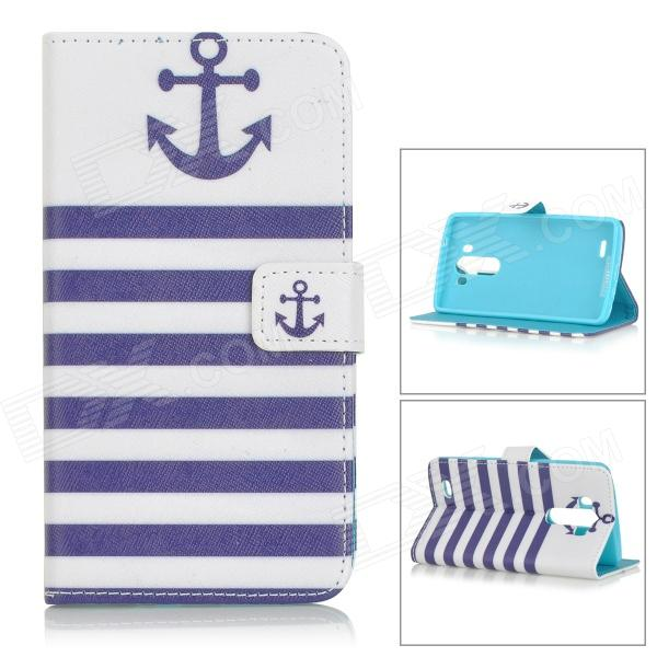 Anchor Patterned Flip-Open PU Leather Case w/ Stand for LG G3 / D855 - White + Blue