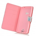 Pineapple Pattern PU Leather Case w/ Stand for Nokia N625 / 625H / Lumia 625 - White + Pink