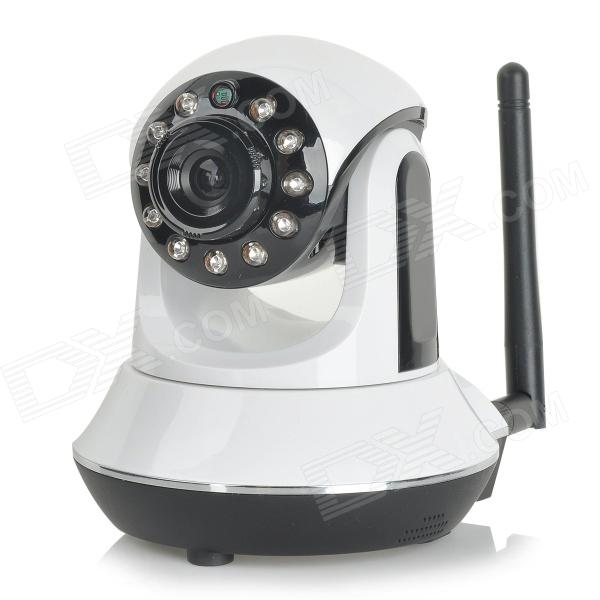 IP-S219 1/4 CMOS 720P P2P PT IP Camera w/ 11-IR-LED / Wi-Fi / IR-CUT / TF - White + Black (US Plug) npc zb npc003 3 5 lcd 1 3 cmos ip network camera recorder w wi fi tf mic white black