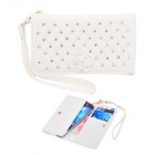 Elonbo Pearl and Roses Leather Wallet Style Full Body Case for Samsung i9300 / i9500 - White
