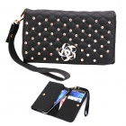 Elonbo Pearl and Roses Leather Wallet Style Full Body Case for Samsung i9300 / i9500 - Black