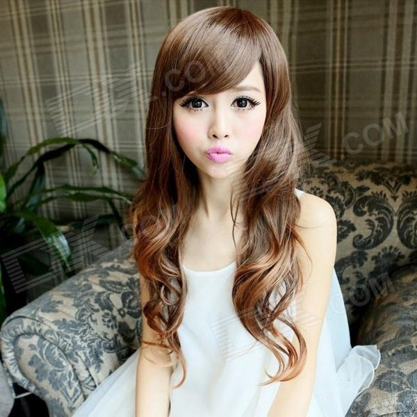 LC032-30 Cosplay Party Makeup Fashionable Long Curly Synthetic Hair Wig - Flaxen 8 colours colorful curly hair party cosplay long wavy wigs