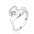 Women's Glamorous Skeleton Heart Shaped Silver Plating Zircon Ring - Silver + White (U.S Size 8)