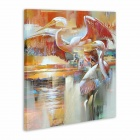 "Iarts AHA072902 Hand-painted ""Paddling Swan"" Oil Painting - Red (60 x 40cm)"