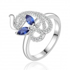 Women`s Stylish Silver Plating Zircon Finger Ring - Silver + Blue (U.S Size 8)