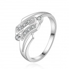 Women's Shiny Silver Plating Zircon Finger Ring - Silver (U.S Size 8)