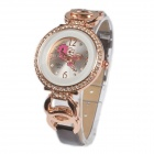 Women's Sweet Flower Pattern Rhinestone Inlaid Analog Quartz Watch - White + Golden (1 x 377)