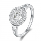 Women's Shiny Concentric Circle Pattern w/ Skeleton Heart Zircon Silver Plated Ring (US Size 8)