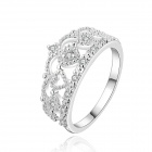 Women's Sweet Charming Crown Pattern Silver Plated Zircon Ring - Silver (US Size 8)