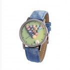 Vintage Billiards Pattern Fabric & PU Band Analog Quartz Wrist Watch - Blue + Multi-Color (1 x 377)